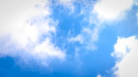 Solid Clounds Forming on Blue Sky Right Side of the Frame. Clear Blue Sky and Clouds. Thick Clouds and Bright Blue Sky Royalty Free Stock Image