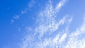 Solid Clounds Forming on Blue Sky Right Side of the Frame. Clear Blue Sky and Clouds. Thick Clouds and Bright Blue Sky Royalty Free Stock Photos
