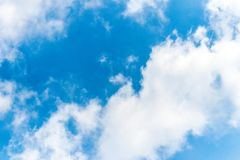 Solid Clounds Forming on Blue Sky Right Side of the Frame. Clear Blue Sky and Clouds. Thick Clouds and Bright Blue Sky Stock Photos