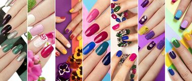 Solid color manicure with bright nail polishes. royalty free stock photo