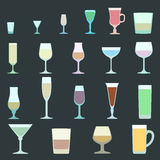 Solid colors alcohol glasses set. Flat design solid colors alcohol glasses set Royalty Free Stock Photography