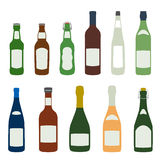Solid colors barmen equipment set. Flat design solid colors alcohol bottles icons set Stock Images