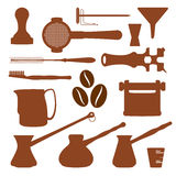 Solid colors coffee set instruments Royalty Free Stock Image