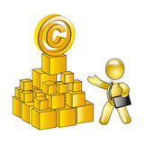 Solid copyright. Gold manikin author or proprietor of intellectual property royalty free illustration