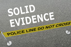 Solid Evidence concept. 3D illustration of SOLID EVIDENCE title on the ground in a police arena Royalty Free Stock Images