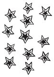 Solid five point stars with detached outline vector drawing illustrations stock photos