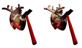 Solid and fragile hearts. Abstract presentation about the health of the heart and about the heart attacks, representing a solid heart  which explode the hammer Stock Photos
