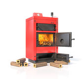 Solid fuel boiler with burning briquettes. Stock Image