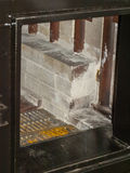 Solid fuel boiler. The loading door is solid fuel boiler stock image