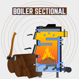 Solid fuel boiler in the section. Royalty Free Stock Image