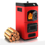 Solid fuel boiler. On white background 3D Stock Photos