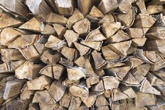Solid fuel for boilers. Firewood stacked. Solid fuel for boilers royalty free stock image