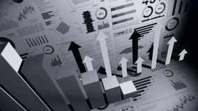 Solid geometric objects for graphs. Rectangular bar chart Infographics loop animation. Charts and graphs. Business success concept royalty free illustration
