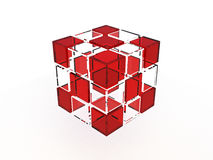 Solid glass cube Stock Photos
