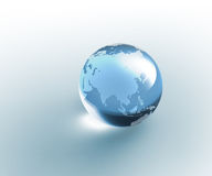 Solid glass globe Earth transparent Royalty Free Stock Photo