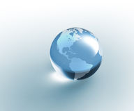 Solid glass globe Earth transparent Royalty Free Stock Photography