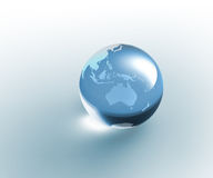 Solid glass globe Earth transparent stock photos