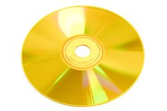 Solid Gold CD Compact Disc. Gold blank CD Compact Disc for computer file storage media Stock Photos
