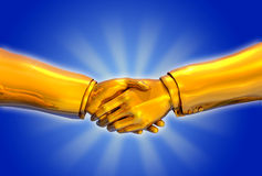 Solid Gold Handshake. 3D render of a solid gold handshake Royalty Free Stock Photo