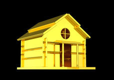 Solid gold house isolated black background Royalty Free Stock Photos