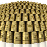 Solid golden wall of oil barrels. Wall of golden oil barrels with fisheye lens distortion on white background vector illustration