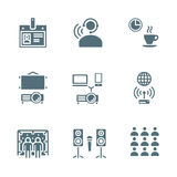 Solid grey color conference concept icons. Vector solid grey color conference theme icons Royalty Free Stock Photo