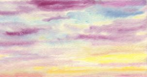 Solid hand drawn artistic background. Colorful clouds. The sky is at sunset. Watercolor painting on paper Royalty Free Stock Photography