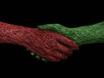 Solid handshake. 3d rendering illustration of a wire handshake Royalty Free Stock Photography