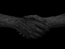 Solid handshake. 3d rendering illustration of a wire handshake Royalty Free Stock Photo