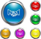 Solid Handshake Button. This is a handshake button representing a business agreement Royalty Free Stock Photos