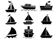 Solid icons Boat set vector illustration
