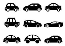 Solid icons Car side view set royalty free illustration