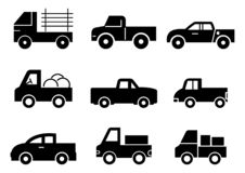 Solid icons Pickup truck set royalty free illustration