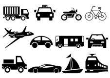 Solid icons transportation royalty free illustration