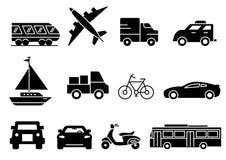 Solid icons transportation royalty free illustration