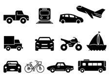 Solid icons transportation vector illustration