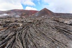 Solid lava plain near active volcano Tolbachik, Kamchatka, Russia stock photos