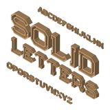 Solid letters typeface. Isometric font. Isolated english 3d alphabet.  Royalty Free Stock Image