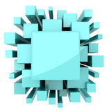 Light Blue Green Solid Abstract Background. Solid light blue or green cubes for science or technology background stock illustration