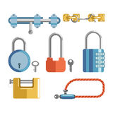 Solid locks and latches isolated cartoon illustrations set. Solid metal locks with small keys and numeric code and simple latches isolated cartoon illustrations Stock Images