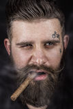 Solid man with beard and mustache. Royalty Free Stock Images