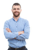 Solid man with crossed arms isolated background Royalty Free Stock Photography