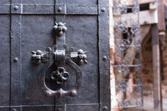 Solid metal gate door. Solid castle metal gate door Stock Image