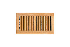 Solid Oak Wall and Ceiling Register. For forced Air Conditioning in living spaces, isolated on pure white stock photo