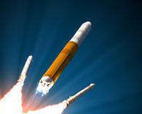 Solid Rocket Boosters Separation Royalty Free Stock Images