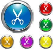 Solid Scissors Button. This is a solid scissors button for web design Stock Photo