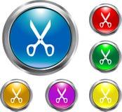 Solid Scissors Button Stock Photo