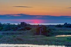 Solid solnedgång - gräsplan Royaltyfria Bilder