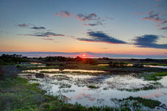 Solid solnedgång - gräsplan Arkivbilder