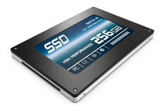 Solid state drive. Close up view of a solid state drive with  storage capacity of 256gb (3d render Royalty Free Stock Images